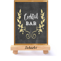Cocktail bar Sign Cocktail party Poster printable Large Black and Gold Cocktail print Chalkboard cocktail sign DOWNLOAD 5x7 8x10 11x14 16x20