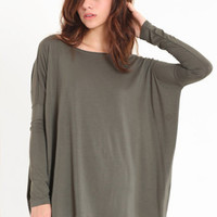 Stand Strong Oversized Tee in Olive