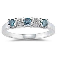 5 Stone Blue and White Diamond Ring in 14K White Gold