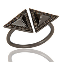 Pave Diamond Sterling Silver Black Oxidized Pyramid Shape Ring Statement Ring