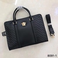 VERSACE MEN'S LEATHER BRIEFCASE BAG CROSS BODY BAG
