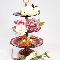 Canonbury - French Glass Cake Stand Empire Three Tier Plates