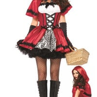 Little Red Riding Hood Short Sleeve Mini Skater Dress Costume Set