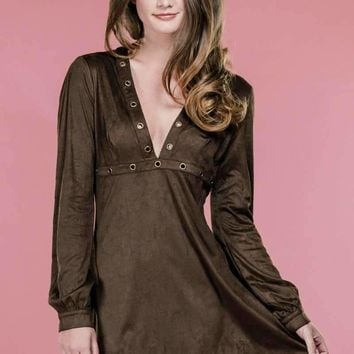 Brown Suede Dress