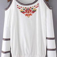 White Embroidery Off-shoulder Blouse