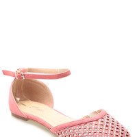 Coral Faux Suede Netted Ankle Strap Flats