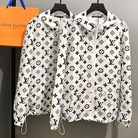 LV Louis Vuitton Fashion Men Women Casual Full Logo Print Long Sleeve Hoodie Thin Cardigan Sun Block Shirt Coat