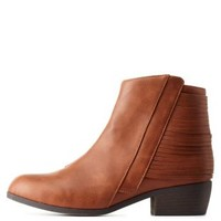 Rust Slatted Flat Ankle Booties by Qupid at Charlotte Russe
