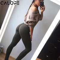 CALOFE Womens Sport Pants Sexy Push Up Gym Sport Leggings Women Running Tights Skinny Joggers Pants Compression Gym Pants