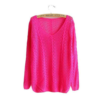 Candy Colors Casual Sweater Women Knitted Pullovers V-neck Hollow Pull Serratula Long Sleeve Spring Autumn Coat/Jacket Top F611