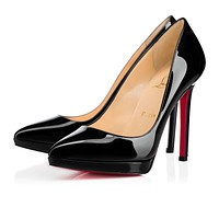 Christian Louboutin Cl Pigalle Plato Black Patent Leather 120mm Stiletto Heel Classic