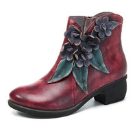 SOCOFY Vintage Handmade Floral Ankle Leather Boots For Women