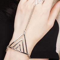 Silver Triangle-layered Bracelet Of Luck
