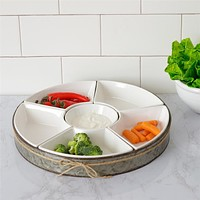 Ceramic Six Section Dip Bowl Set with Metal Tray