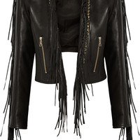 Balmain - Fringed leather biker jacket