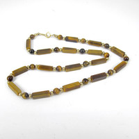 Tigers Eye Bead Necklace. 14K Yellow Gold Filled Tigers Eye Gold Bead Necklace.