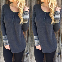 Long Sleeve Tops Autumn Round-neck Bottoming Shirt [6439093060]