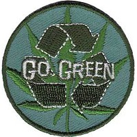 Weed Iron-On Patch Round Go Green Logo