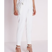 Missguided - Gold Buckle Detail Cigarette Trousers White