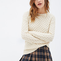 FOREVER 21 Purl Knit Sweater Oatmeal