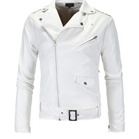 Casual White Leather Men Motorcycle Jacket