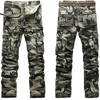 Active Men Spring Army Green Fashion Cargo Pants Crotch jogger Patchwork Pants Male Easy Wash Big Camouflage Cargo Trousers