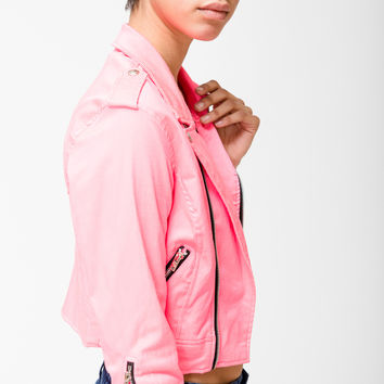 Tripp Nyc Hot Pink Cropped Motorcycle Jacket