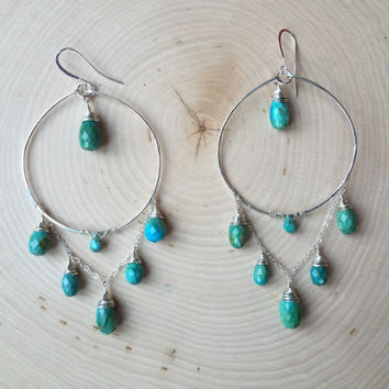 Waterfall Hoops-elegant-chic-wrapped-stone-gem-sterling-silver-925-blue-green-turquoise