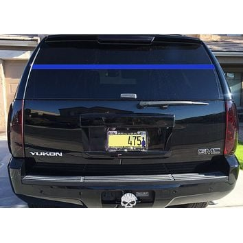 """LEO Police Support Thin Blue Line Rear Window Decal Law Enforcement Wall Decal 70""""W By 2""""H"""