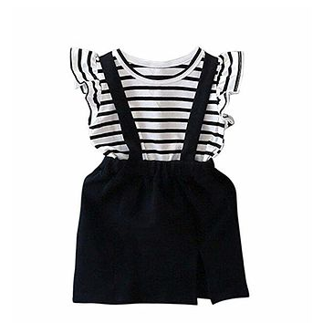 Summer Toddler Kids Baby Girls Clothing Dress Kids Outfit Short Sleeve Striped Children Dresses Girls 1-6 Years