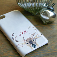 Hello Deer iPhone 5S Case, iPhone 5C, iPhone 4 / 4S, Galaxy S3 / S4, Christmas, Holiday, Antlers
