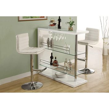 """Bar Stools For Sale - 44"""" x 33"""" x 74"""" White, Foam, Metal, Leather-Look - Barstool 2pcs"""