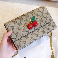 Hipgirls GUCC hot selling fashion full printed logo cherry three-dimensional logo slant across a shoulder bag High quality