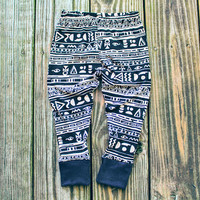 Tribal Glyph - Pink Beige Leggings for Baby Girl Outfit