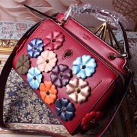 FENDI FLOWERS LEATHER HANDBAG SHOULDER BAG