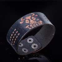 Black and Brown Taurus Leather Cuff