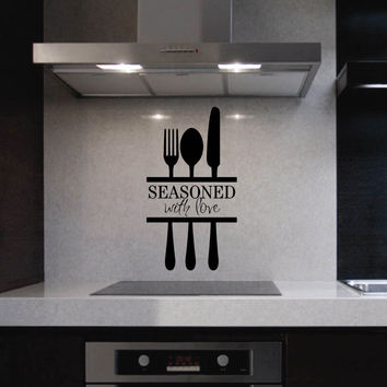 Seasoned with Love Utensils | Kitchen Decal | Vinyl Wall Lettering
