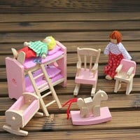 Wooden Kids Baby Toys Furniture Dollhouse Miniature