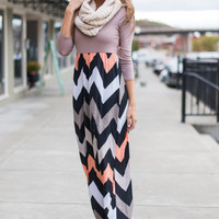 Live Out Loud Maxi, Taupe/Coral