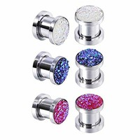 BodyJ4You 6PC Screw Fit Ear Plugs Surgical Steel Synthetic Druzy Stretch Tunnel Gauges Set 00G