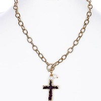 NECKLACE / DRUZY STONE / CROSS PENDANT / PEARL CHARM / TOGGLE CLOSURE / LINK / CHAIN / 18 INCH LONG / 2 INCH DROP / NICKEL AND LEAD COMPLIANT