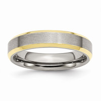 Men's Stainless Steel Beveled Edge Brushed Yellow IP-plated Wedding Band Ring: RingSize: 8.5