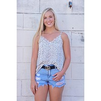 The Quinn Dotted Top - White/Black