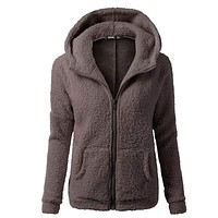 Women Solid Color Long Sleeve Thickening Fluffy Jacket