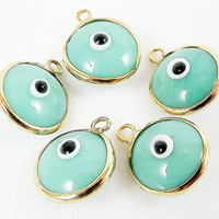 5 Aqua Evil Eye Nazar Artisan Glass Bead Charms - Gold Plated Brass Bezel - GCM112