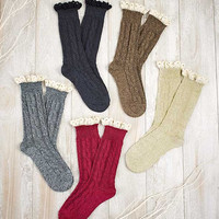 5 Pair Boot Socks w/Lace Trim. Burgundy, Navy, Cream, Grey, Brown Short Boot Sox