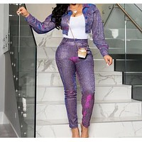 Women Two Piece Fashion Sparkly Crop Jacket Pant Set