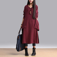 Women cotton linen maxi dress plus size dress winter dress loose fitting dress