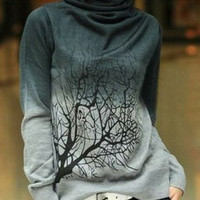 Gradient Color Turtle Neck Printed Sweater