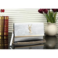 YSL Trending Women Stylish Leather Metal Chain Handbag Shoulder Bag Crossbody Satchel Silvery